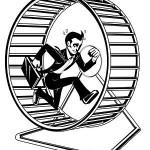 uomo che corre nella ruota del criceto - acquisto stampante - sistema di stampa